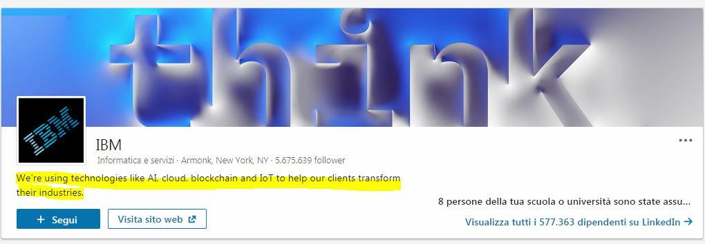 Tagline pagina aziendale IBM